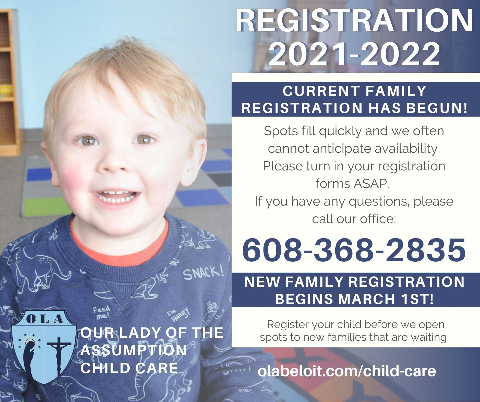 Beloit, WI - Day Care Registration 2021-2022 is Open for existing families
